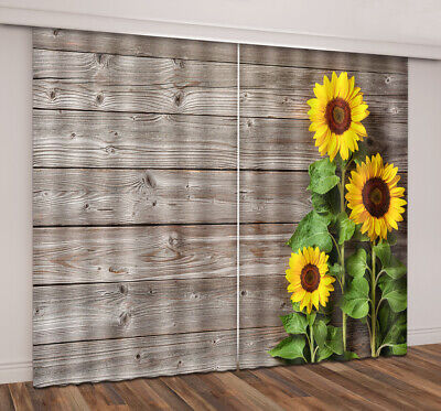 Vintage Rustic Wooden Board Sunflowers 3D Window Curtains Blockout Drapes Fabric