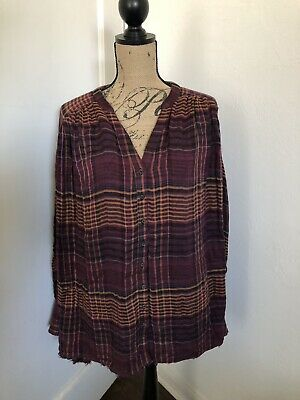 Free People Oversized Long Sleeve Come On Over Plaid Flannel Button Down Size M