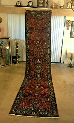 Fine Quality Antique Sarough Wool Hand knotted Persian Rug Carpet Runner