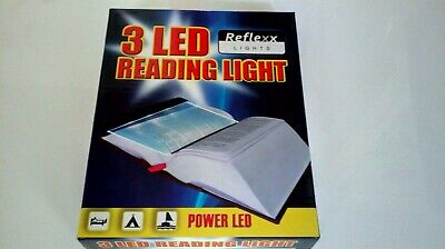 3 Led Book Reading Light Adjustable Brightness And Portable Brand New Boxed.