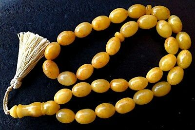 ANTIQUE 51 g. GENUINE BALTIC AMBER ISLAMIC 33 OLIVE BEADS ROSARY TESBIH MISBAHA