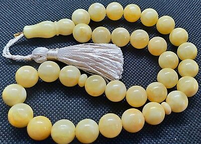 ANTIQUE 35g GENUINE WHITE BALTIC AMBER ISLAMIC 33 BALLS ROSARY TESBIH MISBAHA