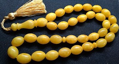 ANTIQUE 17x12mm 53 gr. GENUINE BALTIC AMBER ISLAMIC 33 OLIVE PRAYER BEADS ROSARY