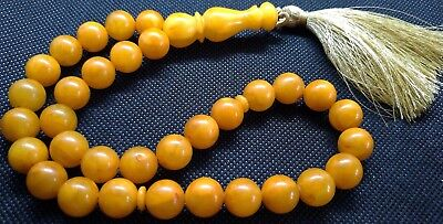 ANTIQUE 12mm - 38 gr. GENUINE BALTIC AMBER ISLAMIC 33 BALLS PRAYER BEADS ROSARY