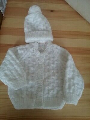 New Hand Knitted  Baby Cardigan With Hat  Mitts 0/3 Mths