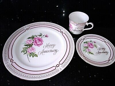 Happy Anniversary Trio. Cup, Saucer, And Plate.