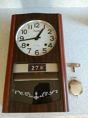 Vintage Rhythm Chiming 30 day Pendulum Wall Clock with Key - Good Working Order