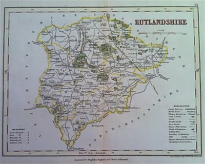 Map of RUTLANDSHIRE c1840 County map, color, by Archer for Dugdales England