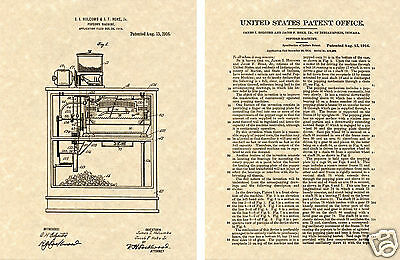 First POPCORN MACHINE US Patent Art Print READY TO FRAME! Vintage 1916 1st Movie