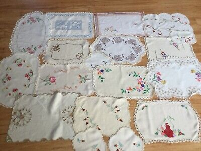 Lot vintage hand embroidered doilies