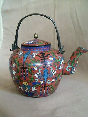 Antique Chinese Cloisonne Teapot - Excellent - Character Marks.