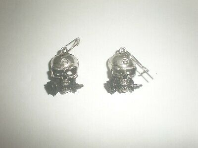 Pair of x Alchemy Pewter Ear Droppers Skull with Rose in Mouth  Original Package