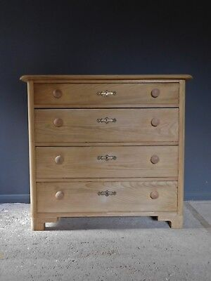 Genuine large stripped old antique pine chest of drawers
