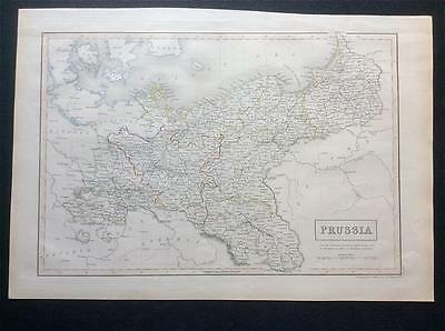 Map PRUSSIA c1843, Black's General Atlas of World, VGC, engraved, colour