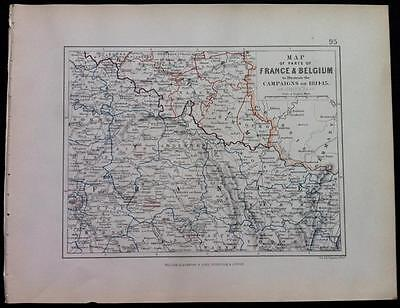 Map, Battle CAMPAIGNS FRANCE & BELGIUM c1814-15 War, Engraved A K Johnston, Hcol