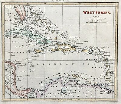Original Map of WEST INDIES c1820 for Walkers New Atlas, engraved, hand colour