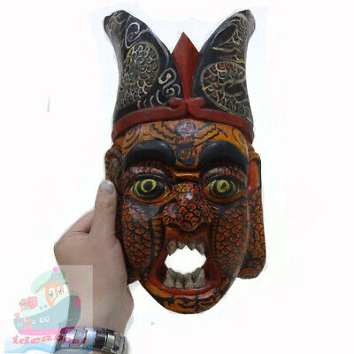 China Folk Wood Carved Painted NUO MASK Walldecor-The Judge of Hell (tall 32cm)