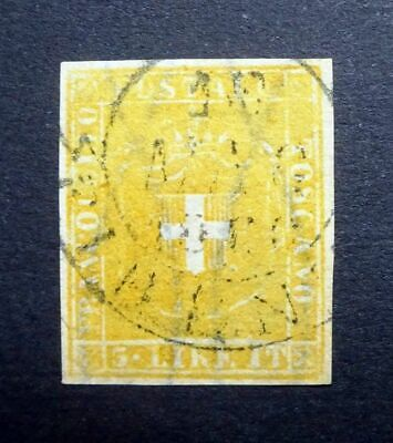 Italian States TUSCANY 1860 SG51/Sc.#23 3L Buff/Ochre Imperf Fine Used - FORGERY