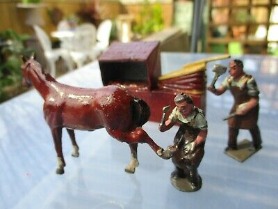 Vintage Britains Lead Blacksmith,forge And Horse Excellent Original Condition