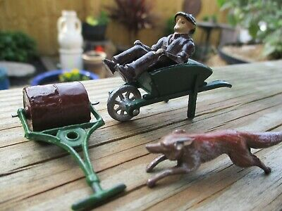 Vintage Lead Farmer Wheelbarrow Roller And Fox Excellent Original Condition