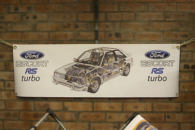 Ford Escort RS turbo large pvc  WORK SHOP BANNER garage  SHOW BANNER office
