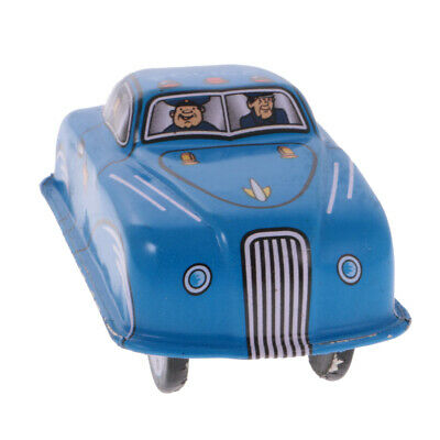 Novel Wind Up Tinplate Police Car Model Clockwork Collectable Tin Toy Gift