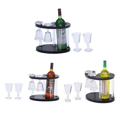 3 Set Miniature Whisky Bottles Plastic Champagne Rack Kitchen 1/12 Dollhouse