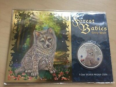 Forest Babies Grey Wolf Colourized 1/2oz Silver Proof Coin Perth Mint 2013