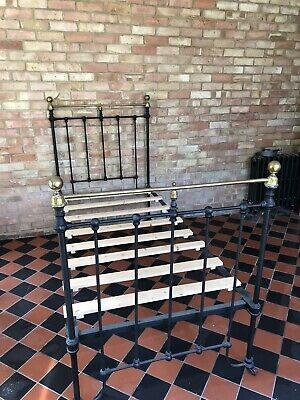 Victorian Single Bed Cast Iron Black and Brass