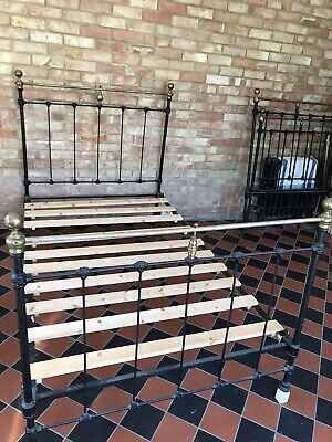 Victorian Double Bed Cast Iron Black and Brass