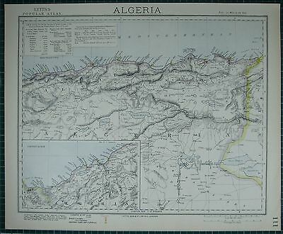 1883 Letts Map ~ Algeria Constantine Imports Exports Lighthouses