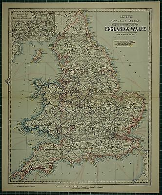 1883 Letts Map ~ England & Wales Liverpool & Manchester Environs Suffolk London