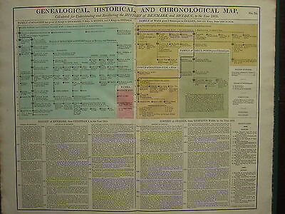 1807 LARGE CHART GENEALOGY ~ HISTORY of DENMARK & SWEDEN 1805 CHRISTIAN I ~ WSA