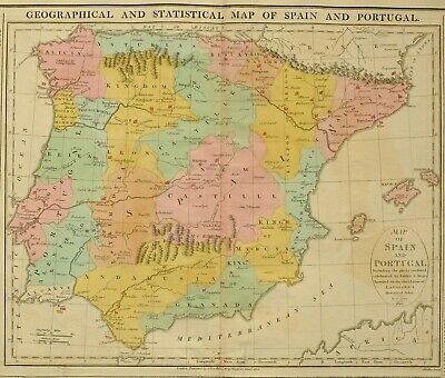 1813 LARGE HAND COLOURED MAP Genealogical & STATISTICAL SPAIN & PORTUGAL BATTLES