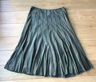 M&S Per Una UK 12 Khaki Green Suedette Panelled Calf Length Long Maxi Skirt F