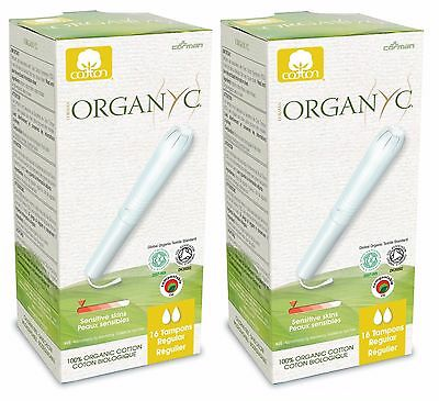 ORGANYC ORGANIC COTTON TAMPONS REGULAR 16 TAMPONS x2 - 100% COTTON NO SCENT