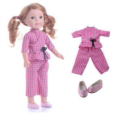 Fashion 14inch Plaid Top Pants Sequin Shoes Pink for American Doll Accs Gift