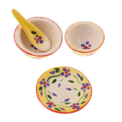 1/12 Miniature Tableware Set Bowls Dishes Plate For Dolls House Accessory
