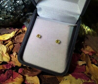 Sparkling natural Yellow Sapphire 3.7mm round sterling silver stud earrings 🌟