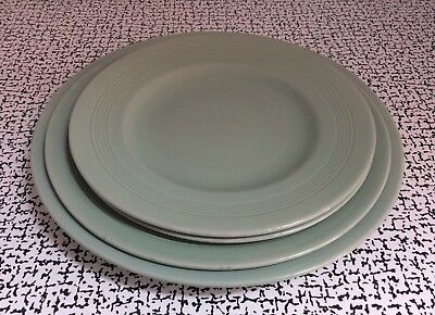 40s Vintage Retro Woods Ware Green Beryl Mixed Dinner Dessert Side Plates x 4