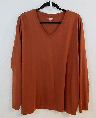 8bbd0e599450 Lands' End Relaxed Fit Supima Cotton V-Neck Brown Long Sleeve Size 1X T