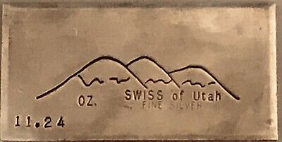 Very Rare & Early 1st Type Swiss of America 999 Silver Old Pour Bar..11.24 T-Oz
