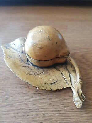 Rare antique  treen pear wood inkwell carved from one piece wood.