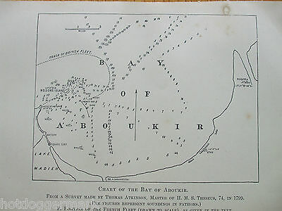 Antique Print Dated 1899 Map Chart Of The Bay Of Aboukir From 1799 History Art