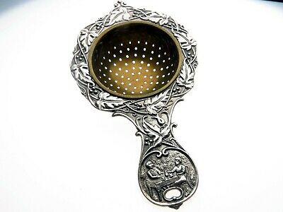 Vintage Dutch White Metal Ornate Tea Strainer Table Scene Couple Drinking Tea