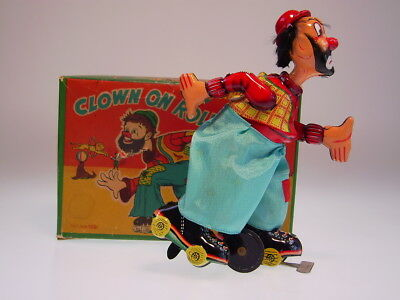 "gsTOP GSCLOWN ""MECHANICAL CLOWN ON ROLLER SKATE"" TPS 1954,WIND UP,NEARLY NEW"