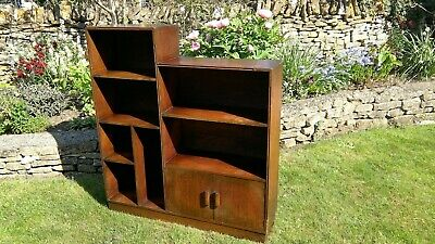 Fab Vintage Antique  Petite Art Deco Oak Stepped Bookcase Display Cupboard