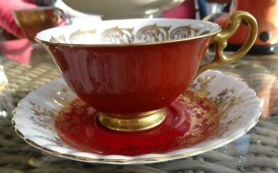 Mix royal albert red gold saucer and foley cup