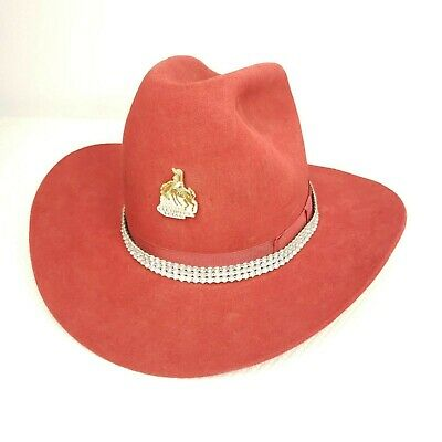 9a28776102a7b Vintage Eddy Bros Hat 6 1 2 Custom Western Cowboy Red Wool Rhinestone Band