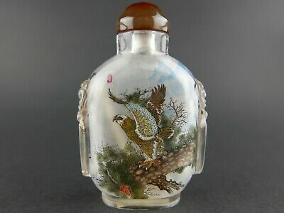 Late Qing Dynasty Chinese Inside Painted Glass Snuff Bottle Signed & Seal Marked